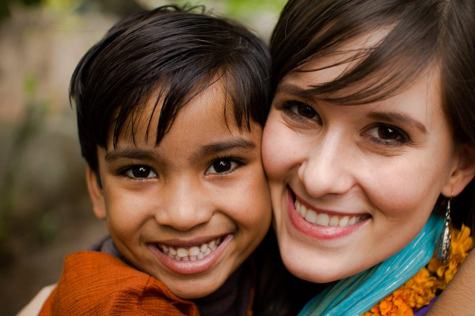 "Beautiful Jyoti, an orphan whose life was restored through Sound of Hope's efforts, with her ""auntie"" Ericka"
