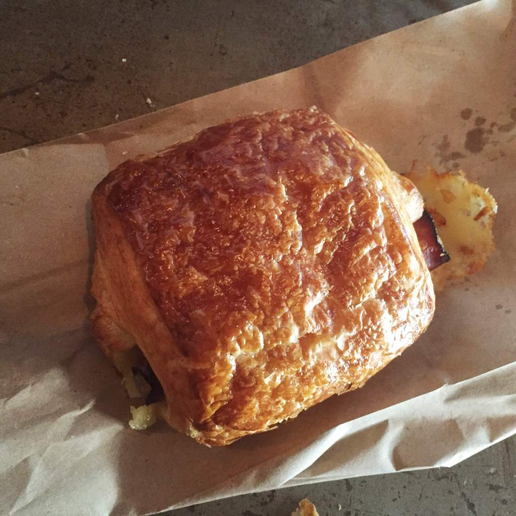 Ham, butter and cheese croissant at Panther Coffee