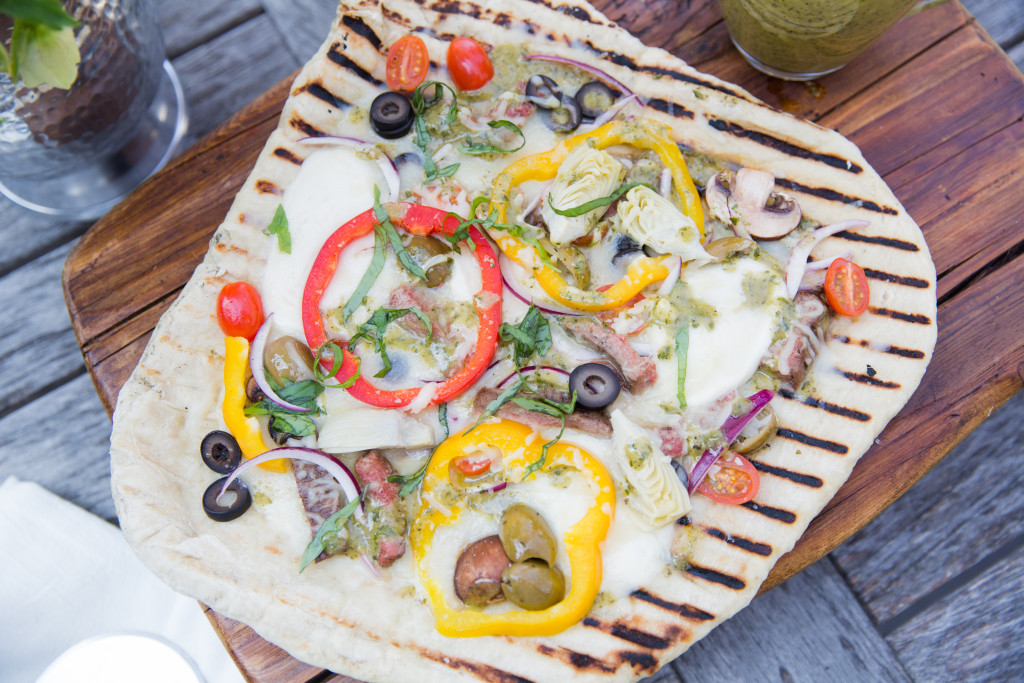 Grilled Pizza with Marinated Flank Steak