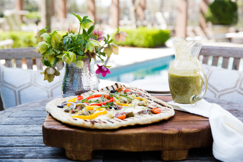 Grilled Pizza with Flank Steak and flowers