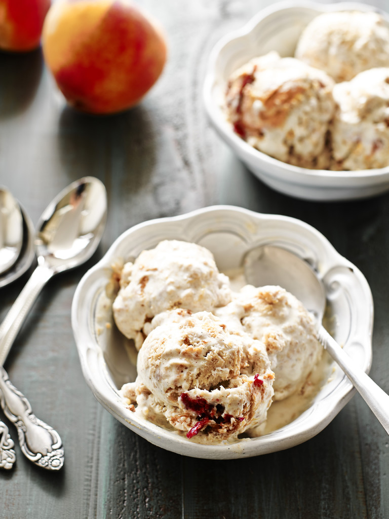 two bowls of gluten free peach cobbler ice cream