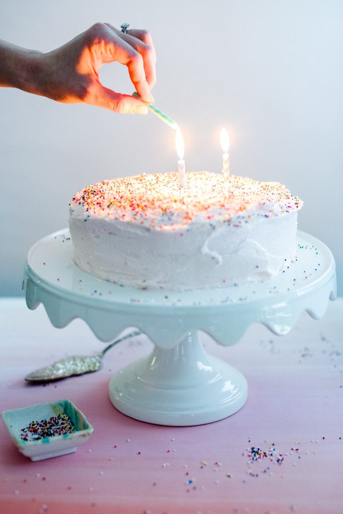 Pink Sprinkle Birthday Cake Light that candle!