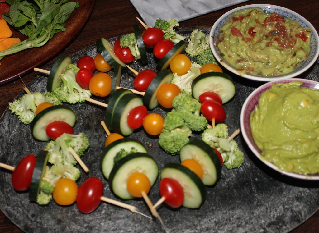 Veggie skewers a plenty with choice of guacamole dips.