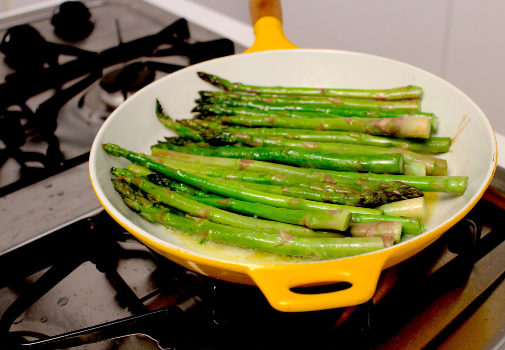 Fresh sautéed asparagus with butter and lemon zest deliciousness.
