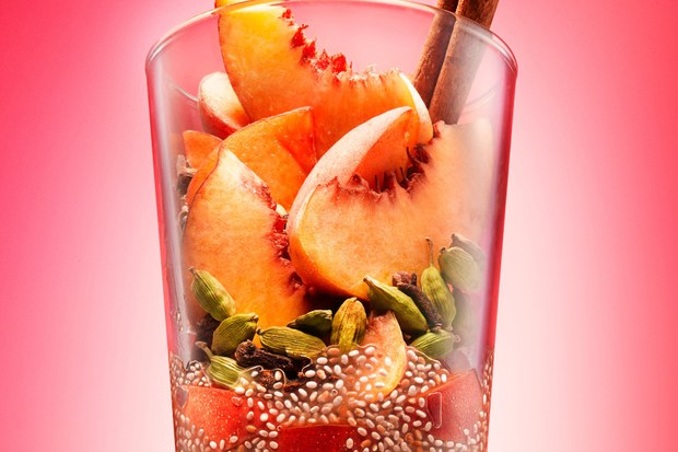 Peachy Chia Chai smoothie by Epicurious!