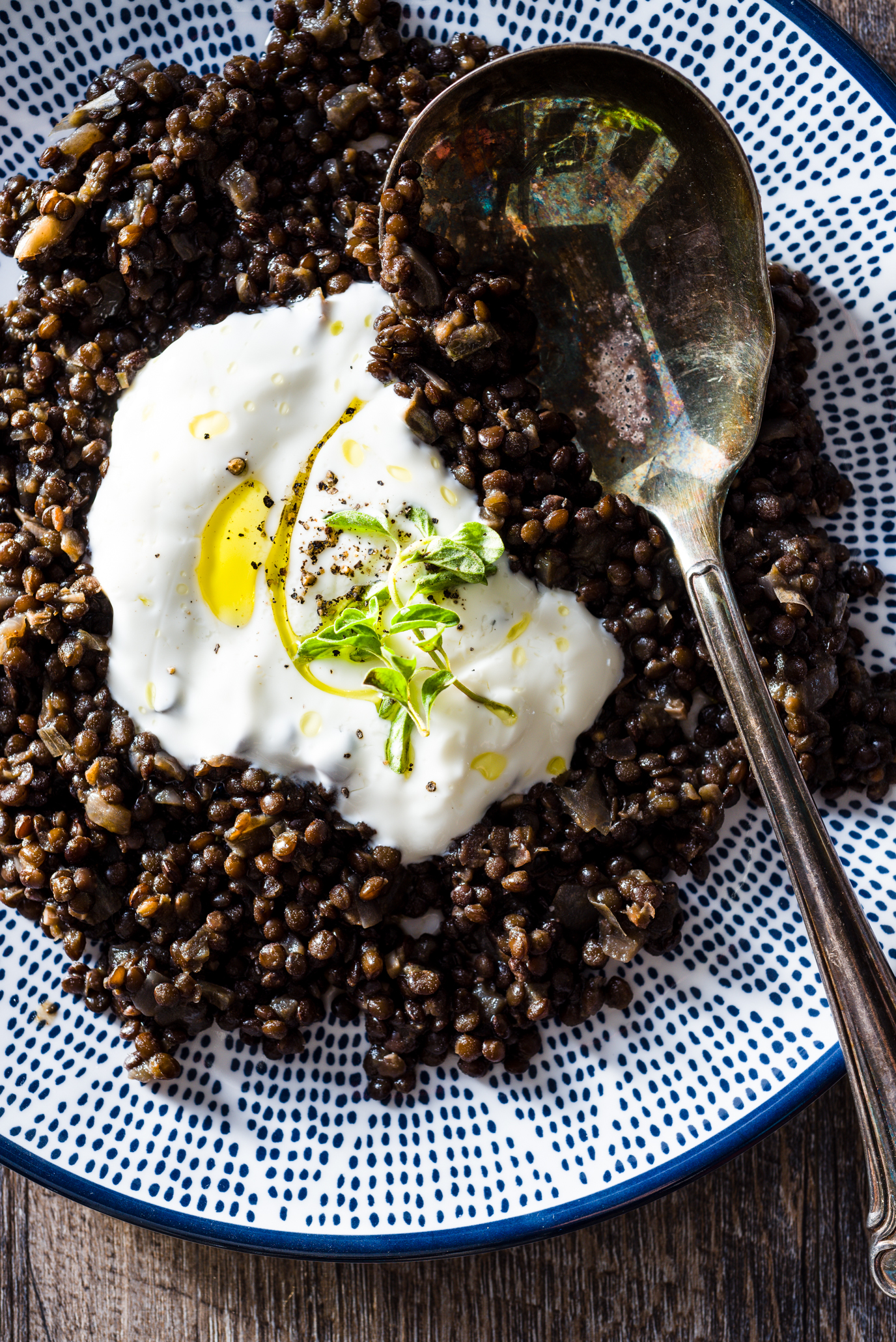 Beluga Lentils With Yogurt Olive Oil And Oregano Luv Cooks Love People With Tasty Food