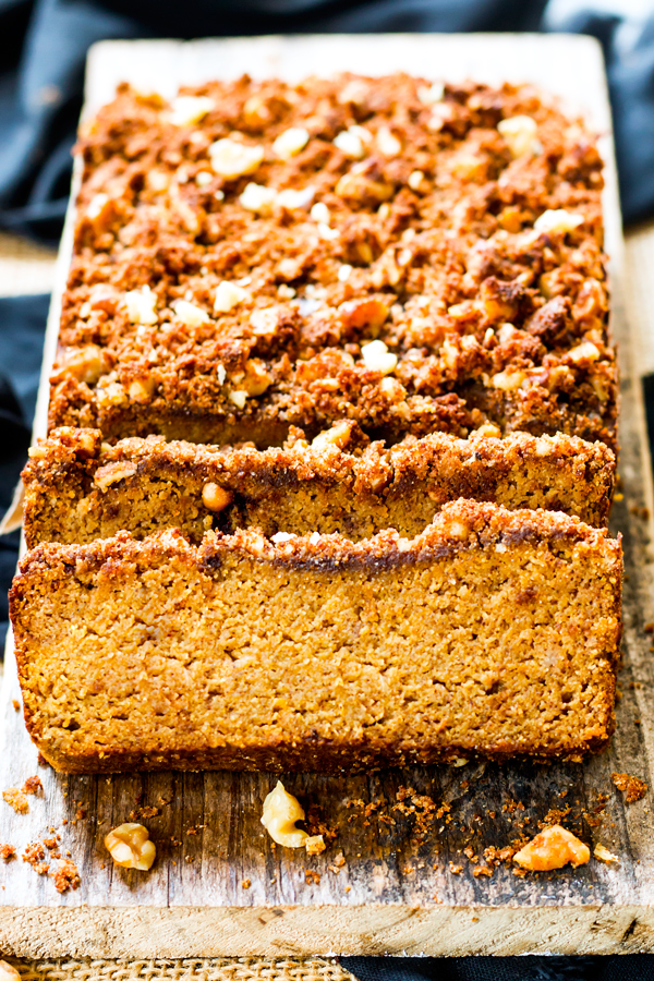 London's amazing coconut pumpkin bread with crumble topping!