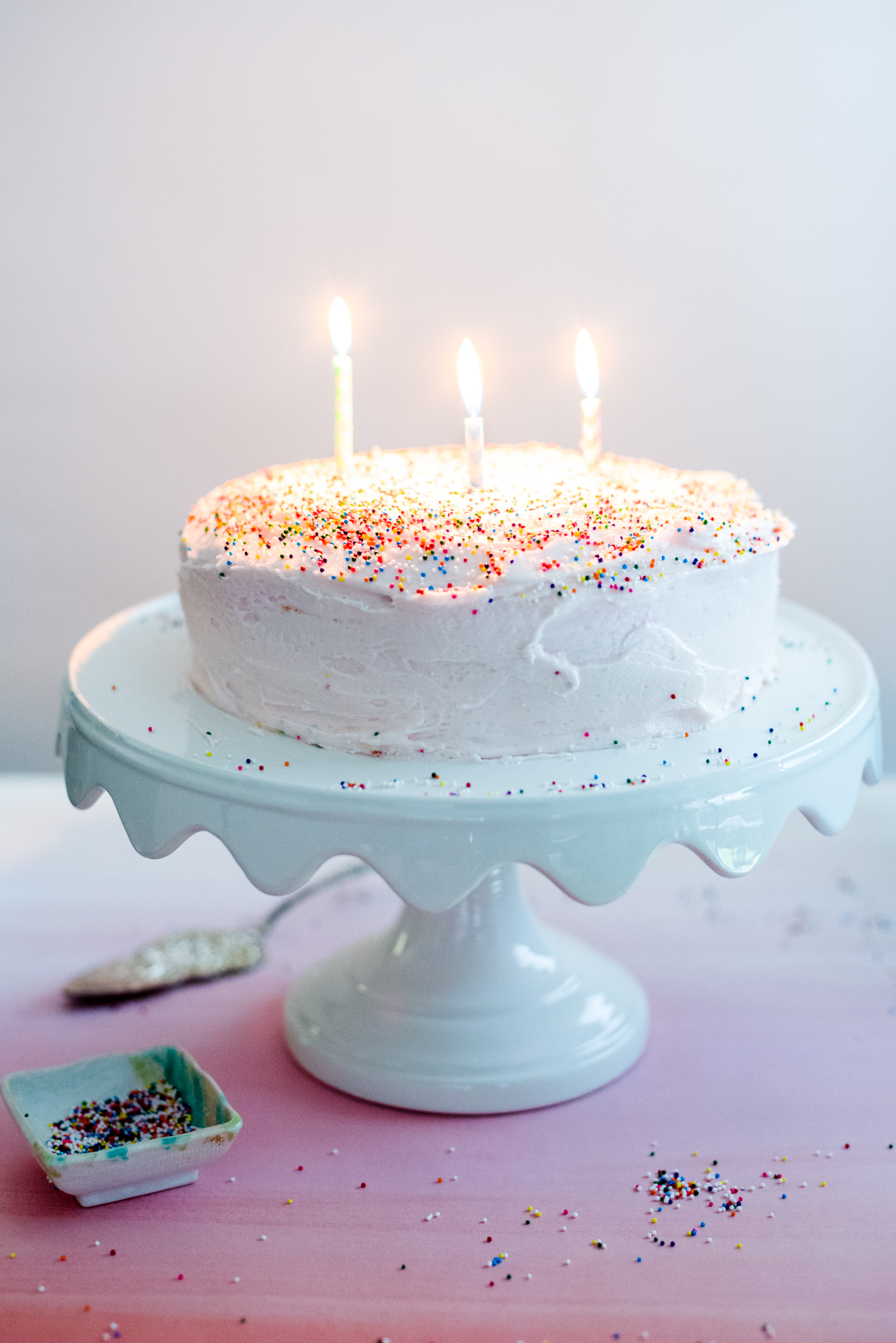 Pink Sprinkle Birthday Cake Three Candles